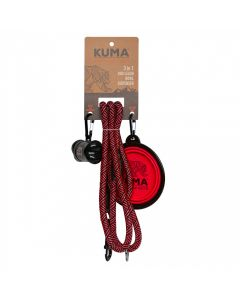 Dog Leash Red Blk 3 In 1